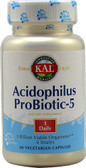 Acidophilus Probiotic-5 3 billion viable organisms 60 VCaps, KAL