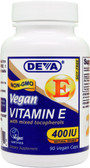 Vegan Vitamin E w/Mixed Tocopherols 400 IU 90 Vegan Caps, Deva