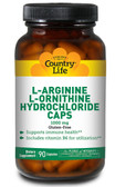 L-Arginine L-Ornithine Hydrochloride Caps 1000 mg 90 Caps, Country Life