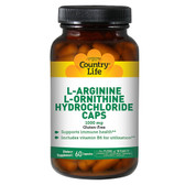 L-Arginine L-Ornithine Hydrochloride Caps 1000 mg 60 Caps, Country Life