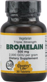 Triple Strength Bromelain 500 mg 30 Tabs, Country Life
