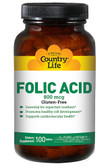 Folic Acid 800 mcg 100 Tabs, Country Life