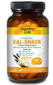 Cal-Snack Chewable Calcium Magnesium Vanilla Orange 60 Wafers, Country Life