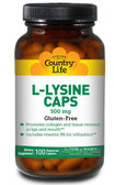 L-Lysine Caps 500 mg 100 VCaps, Country Life