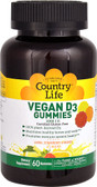 Vegan D3 Gummies Lemon Strawberry & Orange 1000 IU 60 Gummies, Country Life