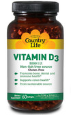 Vitamin D3 5000 IU 60 sGels, Country Life