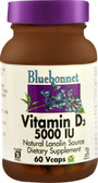 Vitamin D3 5000 IU 60 Vegetable Caps, Bluebonnet Nutrition