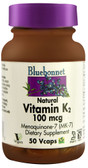 Natural Vitamin K2 100 mcg 50 Vcaps, Bluebonnet Nutrition