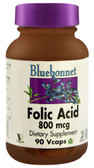 Folic Acid 800 mcg 90 Vcaps, Bluebonnet Nutrition