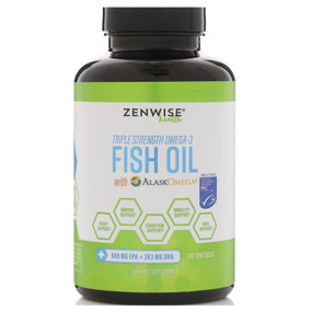 Triple Strength Omega-3 Fish Oil with AlaskOmega 120 Softgels, Zenwise