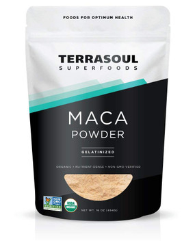 Organic Gelatinized Maca Powder 16 oz Terrasoul Superfoods