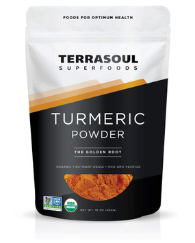 Organic Turmeric Powder 16 oz, Terrasoul Superfoods
