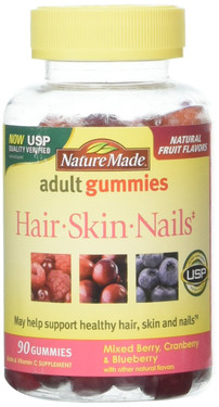 Adult Gummies, Hair, Skin and Nails, Mixed Berry, Cranberry & Blueberry, 90 Gummies