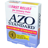 Azo Urinary Pain Relief Maximum Strength 12 Tabs, I-Health