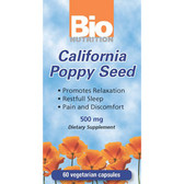 Bio Nutrition California Poppy Seed 500 mg 60 Caps, Restful Sleep