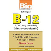 B-12 Sublingual Once Daily 6000 mcg 50 Tabs, Bio Nutrition