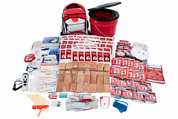 Survival kit with red bucket and backpack