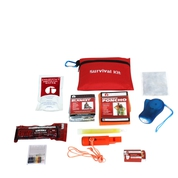 Mini survival kit in red carry bag