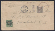 czj15e5.  Canal Zone Postage Due stamp J15 tied by mute cancel on local cover with Cristobal 5-14-25 cancel. Scarce and Attractive usage!