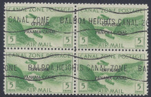 czco08c8. Canal Zone Air Post Official stamp CO8 Block of 4 used (CTO) F-VF+. Scarce and Desirable Multiple!