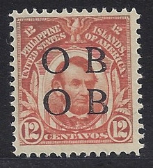 "piob266c3. Philippines 12c Lincoln 266 variety with Double Black Constabulary ""OB"" Overprints. Unused, LH, Fresh & Very Fine. Very Scarce Double ""Bandholtz OB"" Overprint Only 100 Issued!"