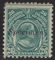 "pi298Sc3. Philippines stamp 298S with type R ""Specimen"" overprint. Unused, OG, Fine. Scarce item!"