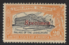 pi323Sc3. Philippines stamp #323S type R SPECIMEN overprint unused OG VF. Scarce and Attractive!