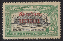 "pio1sr5. Philippines Official stamp O1S type R  ""SPECIMEN"" Overprint unused OG Extremely Fine Jumbo. Scarce & Attractive! Only 250 Issued!"