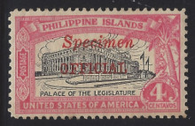 "pio2sr5. Philippines Official stamp O2S type R ""SPECIMEN"" Overprint unused OG Very Fine. Scarce Only 250 Issued!"