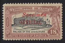 "pio3sr5. Philippines Official stamp O3S type R ""SPECIMEN"" Overprint unused OG Very Fine. Scarce Only 250 Issued!"