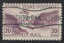 czco10c5. Canal Zone Air Post Official stamp CO10 used (CTO) F-VF. Scarce, Only 2000 Issued!