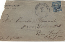 pr212g3. Puerto Rico 212 tied by Playa Ponce Station 5-20-1899 duplex on cover to US. Rare military cancel!