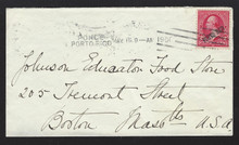 pr211g3. Puerto Rico 211 (VF) tied by Ponce 5-15-1900 Hampden machine cancel on neat small cover to US. Nice usage of Scarce cancel!