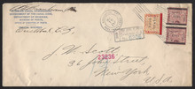 cz013o4. Canal Zone 13 & 17a pair on Registered Official Business cover from CRISTOBAL, 5-31-1906, to U.S. Scarce & Registered Usage!