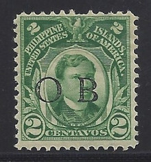 "piob241b3. Philippines 241 variety with Black Constabulary ""OB"" Overprint. Unused, LH, Fresh & F-VF with nibbed perf. Nice ""Bandholtz OB"" Overprint."