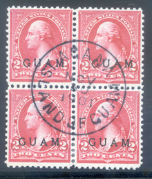 gm02g. Guam 2 block of 4 used Very Fine. S-O-N Agana 11-30-01 cds. A Scarce Showpiece!