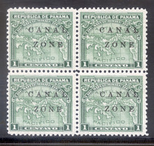 "cz009d2. Canal Zone 9b ""ZONE"" in Antique Type in blk/4 unused OG VF-XF. Scarce variety in Fresh and Choice block!"