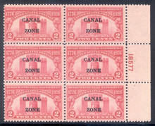 cz096f2. Canal Zone 96 Plate Block, 2 LH/4 NH, F-VF+. Fresh & Attractive Block!