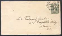 czu03u. Canal Zone U3 entire used Balboa Heights, 3-20-22, to U.S. Very Fine & Scarce! Pays 3rd class rate. Earliest Reported Use!