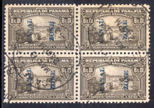 czj11Cb. Canal Zone J11C Block of 4 used VF-XF. Spacing Variety.