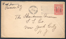 czu04o3. Canal Zone U4 entire used Ancon, 4-3-22, to U.S. Scarce & Very Fine.