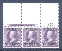 cb224g7. Cuba 224 unused Never Hinged F-VF+ Plate # & Imprint strip of 3. Fresh & Attractive Large Top Plate strip!