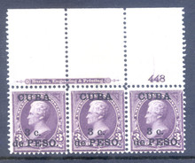 cb224g4. Cuba 224 unused Never Hinged F-VF Plate # & Imprint strip of 3. Excellent Large Top Strip!