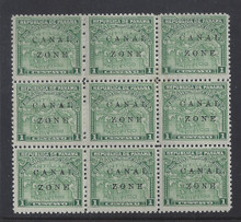 cz009d1. Canal Zone 9a & 9b in blk/9 * OG F-VF+. Very Scarce multiple!