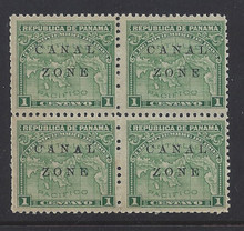 "cz009d2. Canal Zone 9a ""CANAL"" in Antique type * OG F-VF in blk/4. Scarce Error - only 500 issued!"
