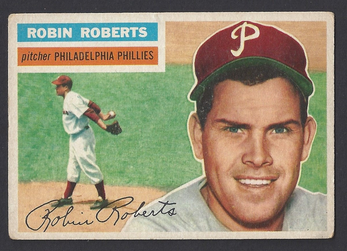 Baseball 1956 Topps 180 Robin Roberts Hof Pitcher Philadelphia Phillies Vg Ex Card