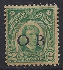 "piob241b6. Philippines 241a yellow green variety with Black Constabulary ""OB"" Overprint. Unused, NH, Fresh & F-VF. Scarce ""Bandholtz OB"" Overprint on 2c shade, only 100 issued."
