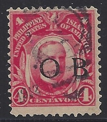 "piob242a3. Philippines 242 variety with Black Constabulary ""OB"" Overprint. Used, Fine with minor defect. Scarce used ""Bandholtz OB"" Overprint."
