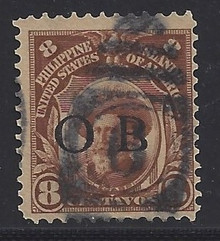 "piob244b3. Philippines 244 variety with Black Constabulary ""OB"" Overprint. Used, F-VF. Scarce used ""Bandholtz OB"" Overprint, only 4000 issued!"