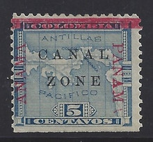 "cz012g3. Canal Zone 12 variety ""ANAMA"" @ left, ""PANAM"" @ right. Unused OG F-VF NSE. Very Scarce Dual Variety, only a few from some panes!"